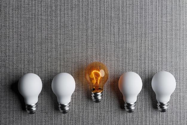Glühbirne nehmen einen unternehmensführer und einen unternehmensführer, 3d-darstellungs-rendering