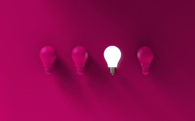 Glühbirnen auf rosa hintergrund. ideenkonzept. 3d-illustration.