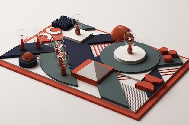 Glühbirnenkonzept abstrakte zusammensetzung der geometrischen formenplattformen im blau- und orangeton. 3d-rendering