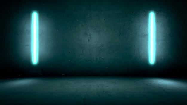 Glühende blaue neonlichter auf wandhintergrund im club. moderner und futuristischer 3d-illustrationsstil für cyberpunk- und filmthemen