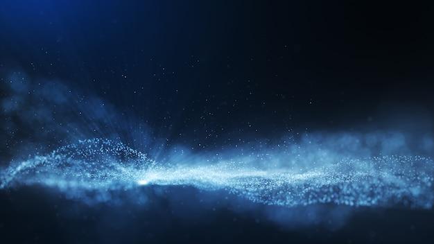 Glühende blaue staubpartikelglitterfunken abstrakter hintergrund für feier mit lichtstrahl und glanz in der mitte.