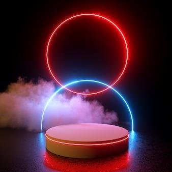 Glühende doppelkreise rotes und blaues neonlicht mit podium- und wolken-3d-rendering