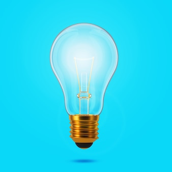 Glühende glühbirne auf weißem hintergrund. idee und inspirationskonzept. 3d-rendering.