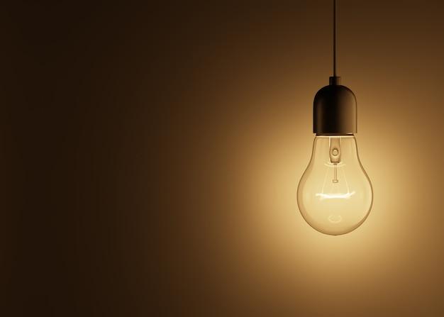 Glühende glühbirne, die an einem draht hängt