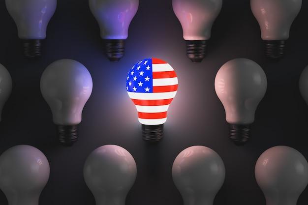 Glühende glühbirne mit einem symbol der usa, umgeben von nicht leuchtenden glühbirnen. politische themen