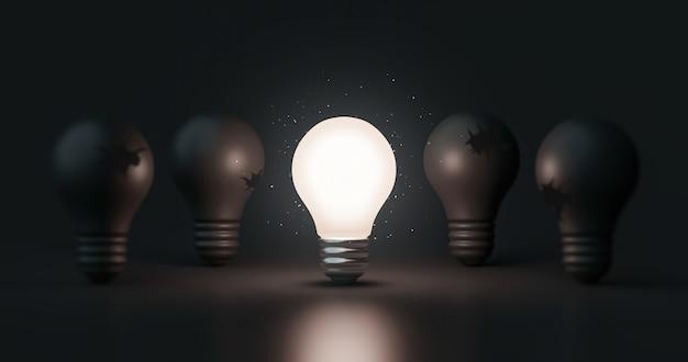 Glühende idee glühbirne und innovation denken kreatives konzept auf erfolgsinspiration dunklen hintergrund mit lösungssymbol des elektrischen lampendesigns. 3d-rendering.