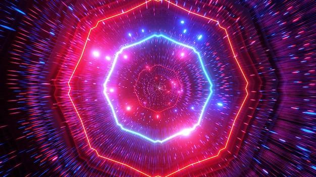 Glühende neonlichter helle bunte teilchenraumtunnel 3d cooler vfx hintergrund
