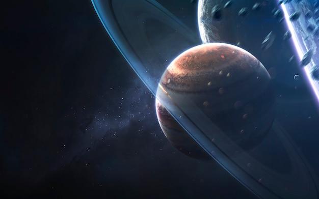 Glühende ringe des gasriesen, fantastische science-fiction-tapete, kosmische landschaft.
