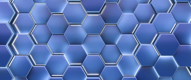 Glühende sechseckige brennstoffzellen. abstrakter hintergrund. blauer stil.