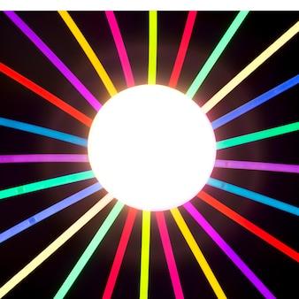 Glühender kreis, der mit neonstock umgibt