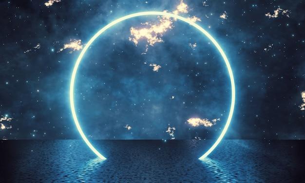 Glühender kreisring mit galaxienhintergrund und reflexion auf schmutzboden