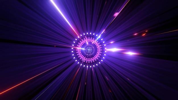 Glühender science-fiction-partikelrotations-sci-fi-tunnel-3d-hintergrund