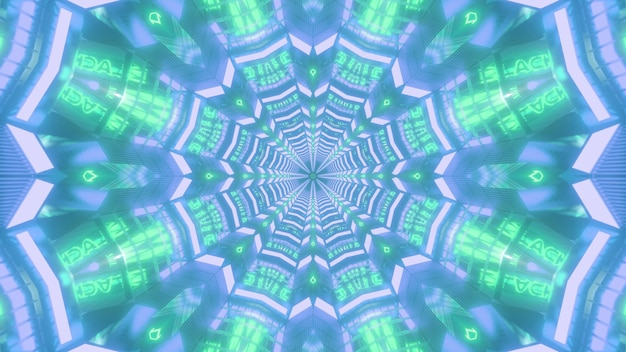 Glühender visueller hintergrund der blauen und grünen farbigen 3d-illustration mit leuchtendem neon-symmetrischem blumenförmigem kaleidoskopischem muster, das endloses tunneldesign bildet