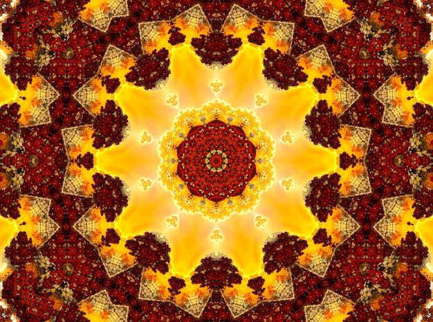 Glühendes feuriges orientalisches ornament, bild für buddhistisches mantra.