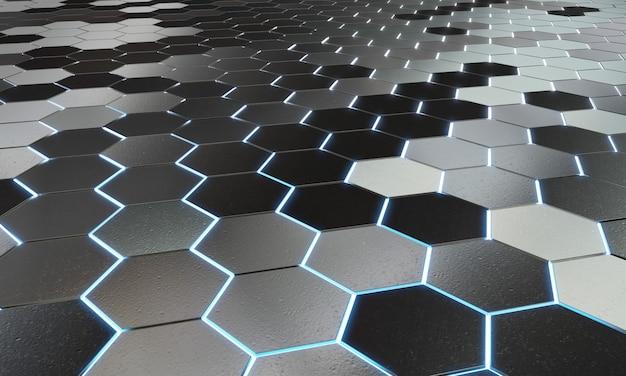 Glühendes hintergrundmuster der schwarzen und blauen hexagone auf silberner metalloberfläche