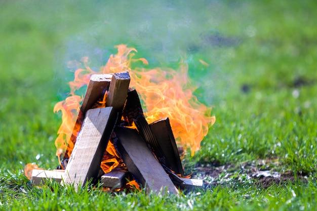 Glühendes lagerfeuer auf die natur. brennende holzbretter draußen am sommertag. leuchtend orangefarbene flammen, heller rauch und dunkle asche auf grünem gras auf verschwommenem grün. tourismus- und campingkonzept.
