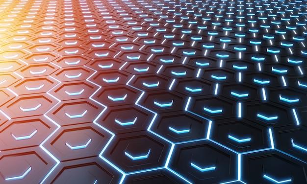 Glühendes schwarzes hintergrundmuster der blauen und orange hexagone auf silberner wiedergabe der metalloberfläche 3d