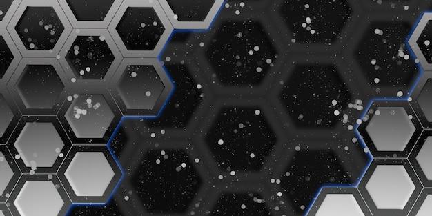 Glühendes sechseck sechseckiger rahmen abstrakter bokeh-effekt