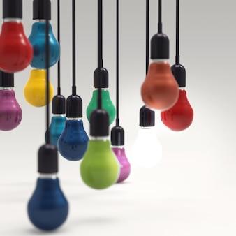 Glühlampe des kreativen ideen- und führungskonzeptes