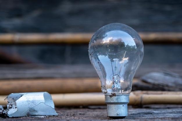 Glühlampe, die auf holz steht - konzept des einsparens von energie und haben eine große idee.