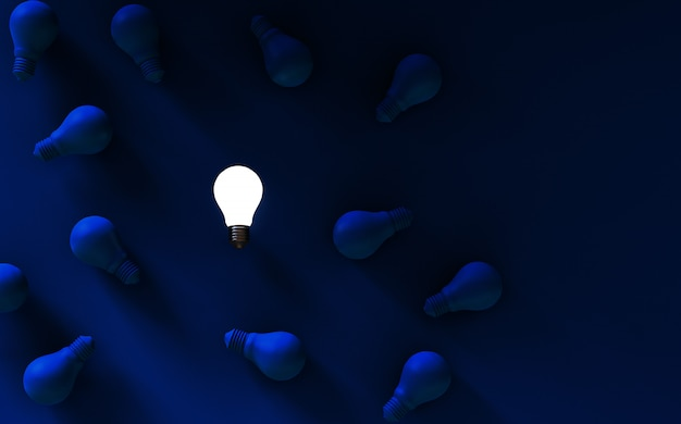 Glühlampen auf dunkelblauem hintergrund. ideenkonzept. abbildung 3d.