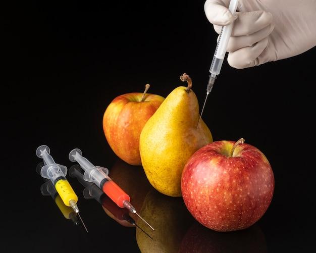 Gmo modifizierte birne und äpfel