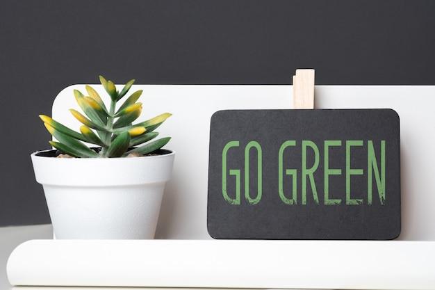 Go green auf tafel