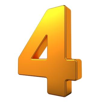 Gold 3d digit 4 isoliert auf weißem hintergrund.