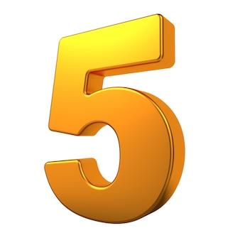 Gold 3d digit 5 isoliert auf weißem hintergrund.