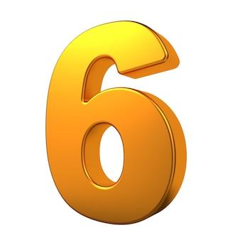 Gold 3d digit 6 isoliert auf weißem hintergrund.