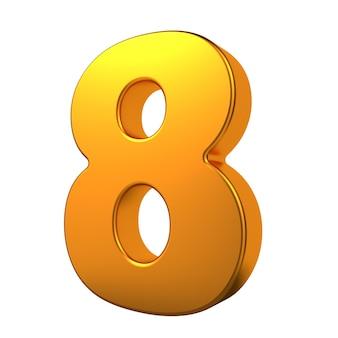 Gold 3d digit 8 isoliert auf weißem hintergrund.