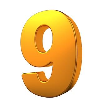 Gold 3d digit 9 isoliert auf weißem hintergrund.