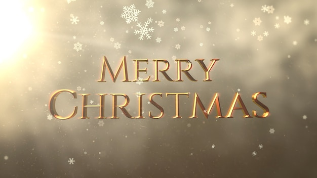 Gold abstrakte bokeh-partikel fallen und animierte nahaufnahme frohe weihnachten-text auf glänzendem hintergrund. luxuriöse und elegante 3d-darstellung im dynamischen stil für den winterurlaub