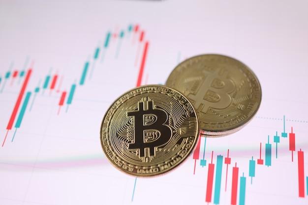 Gold-bitcoin-kryptowährungsmünze, die auf handelschart liegt. kryptowährungsaustauschkonzept