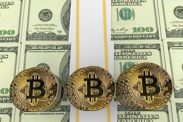 Gold-cryptocurrency bitcoin-stack und us daollar banknote hintergrund.