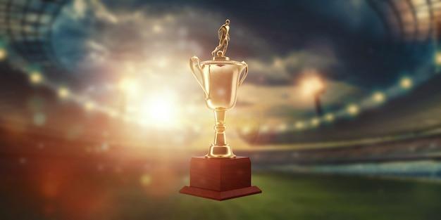 Gold cup auf dem hintergrund des stadions