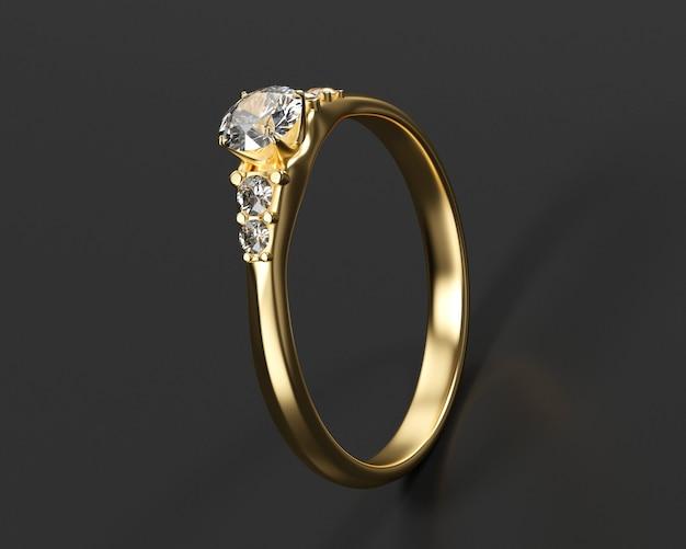 Gold-diamant-ring auf schwarzem hintergrund isoliert, 3d-rendering.