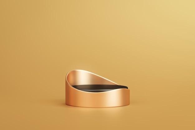 Gold eleganter produkthintergrundständer oder podiumsockel auf goldenem display mit luxuriöser kulisse. 3d-rendering.