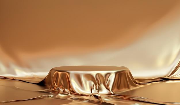 Gold eleganter stoff tisch produkt hintergrund stand oder podest sockel auf goldenem display mit luxus-kulissen. 3d-rendering.