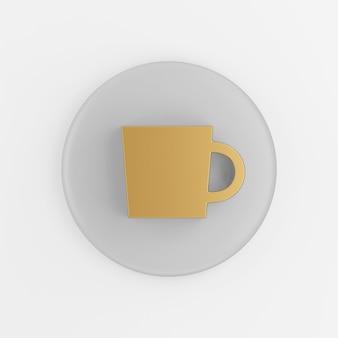 Gold flache tasse symbol. grauer runder schlüsselknopf des 3d-renderings, schnittstelle ui ux element.
