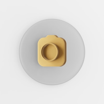 Gold fotokamera symbol. grauer runder schlüsselknopf des 3d-renderings, schnittstelle ui ux element.