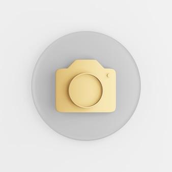 Gold fotokamera-symbol im flachen stil. grauer runder schlüsselknopf des 3d-renderings, schnittstelle ui ux element.