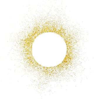 Gold funkelt auf weißem raum. weiße kreisform für text und design.