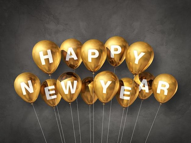 Gold glückliche neue jahr luftballons auf einem dunklen konkreten hintergrund. 3d-illustration rendern