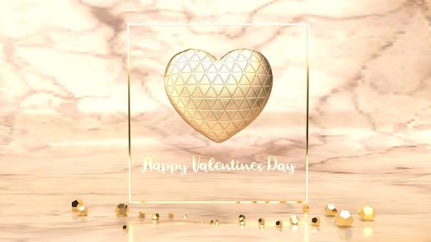 Gold herz und gold fram 3d-rendering für valentinstag inhalt.