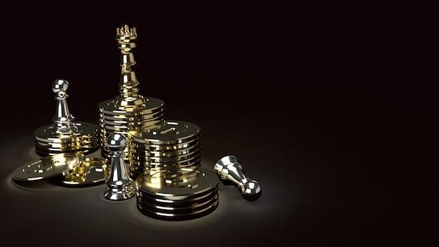 Gold-kong-schach auf gold-waschbären und silber-bauer auf dunklem ton, 3d-rendering.
