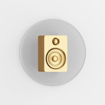 Gold lautsprechersymbol. grauer runder schlüsselknopf des 3d-renderings, schnittstelle ui ux element.