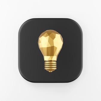 Gold low-poly-glühbirne-symbol. 3d-rendering schwarze quadratische taste, interface-ui-ux-element.