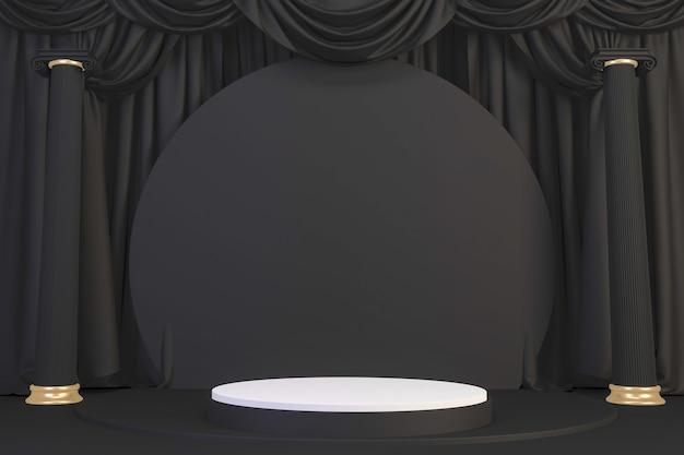 Gold luxus podium römischen stil auf schwarz für show-produkt.