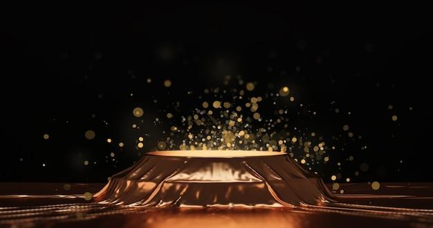 Gold-luxus-stoff-produktdisplay oder eleganz-podestsockel auf goldenem glitzerhintergrund der schönheit mit abstrakter präsentationskulisse und präsentationsvorlage. 3d-rendering.